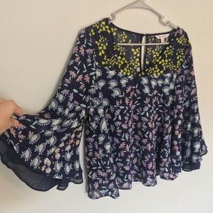 Mixed Print Bell Sleeve Blouse